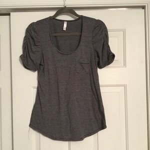 Black and gray striped pocket shirt